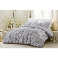 4 PC PINCH PLEAT ALL SEASON SUPER SOFT OVERSIZED COMFORTER SET - GRAY - STYLE 1054