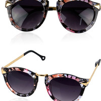 Trendy Sunglasses - Flower Print, Leopard, Black, Camel