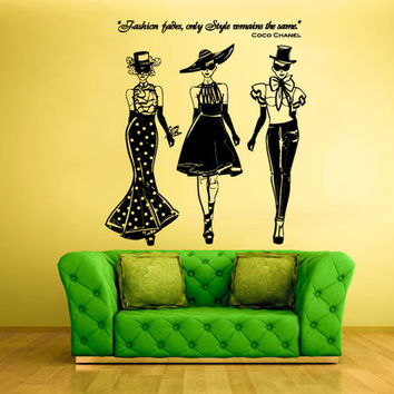 rvz1261 Wall Decal Vinyl Sticker Decals Ladies Girls Coco Chanel Fashion