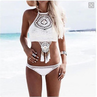 White Khaki 2016 New Handmade Crochet Bikini Set High Neck Swimsuit Sexy Women Fringe Swimwear knitting Biquini Bathing Suit
