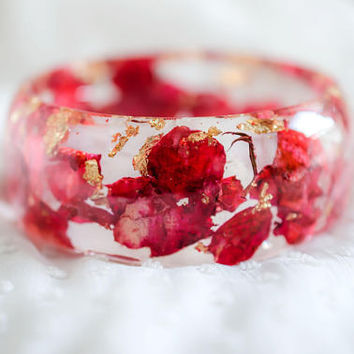 バラの葉のブレスレット Rose leaves Thin Romantic Crystal resin Bangle Golden Flakes from Real Pink Roses Handmade Art magical colorful soft feeling
