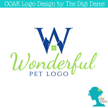 "OOAK Premade Logo Design: ""W"" Pet Logo with Dog and Cat in Navy Blue and Apple Green"