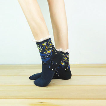 The Starry Night Lace Socks, Ankle Socks, Painting Socks, Lace Boot Socks, Knitted Socks, Leg Warmer, Van Gogh painting Socks