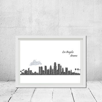Los Angeles wall art Los Angeles print California skyline Poster city Digital print Home decor Pencil drawing art Download Travel poster