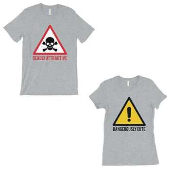 Attractive & Cute Couples Matching T-Shirts Grey Funny Gift For Him