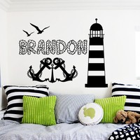 Wall Decal Personalized Name Anchor Lighthouse Sticker Baby Custom Name Nautical Nursery Bedroom Decor MM14