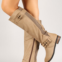 Mixed Media Zip Up Knee High Riding Boot