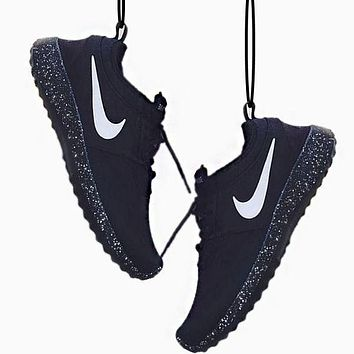 Ianlaynedesigns: NIKE Women Men roshe run Running Sport Casual Shoes Sneakers Black+Black starry sky