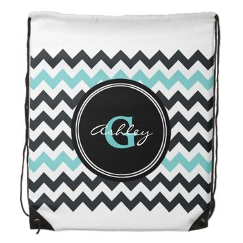 Black Aqua Chevron Monogram Drawstring Backpack