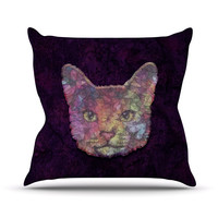 "Ancello ""Rainbow Cat"" Pastel Purple Throw Pillow"