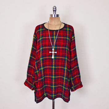 Vintage 80s 90s Red Tartan Plaid Sweater Jumper Oversize Sweater Slouchy Sweater 90s Sweater 90s Grunge Sweater Women S M L XL XXL 1X 2X 3X