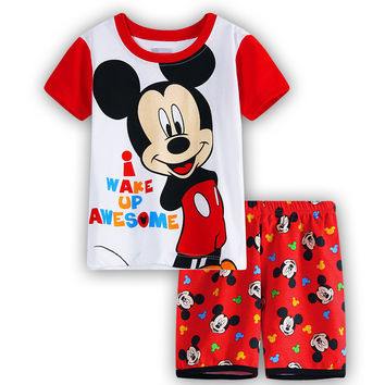 Kids Pajama Sets mickey Boys Sleepwear 2-7 Years Girls Pijamas Suit Children pyjama T-shirt + Pants Baby Girl/Boy Clothing Set