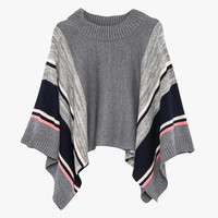 Gray Knit Poncho Cover Up
