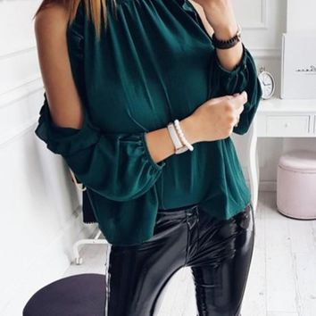 Green Ruffle Cut Out Round Neck Long Sleeve Fashion Blouse
