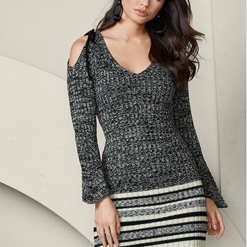 Cold Shoulder Sweater Dress in Grey Multi | VENUS