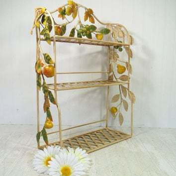 Wrought Iron Antiqued Hanging Shelf - Basket Weave Display Shelves & Wrought Iron Applied Flowing Vines of Metal Leaves and Chalkware Fruit