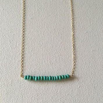 Turquoise bead bar gold necklace / bridesmaid necklace / dainty necklace / minimalist necklace / bridesmaid necklace
