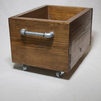 Industrial Storage Box on Wheels, Wood Storage Bin on Casters, Industrial Box with castors, Wooden toy box, Industrial Toy Storage