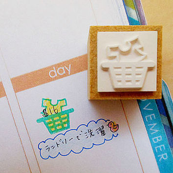 Japanese Rubber Stamp for Filofax,PostCard,tiny stamp,planner,Calendar, scheduler diary and for designers,Laundry