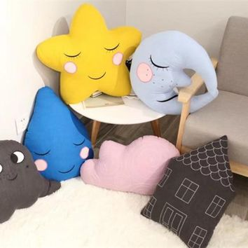 New Arrival INS Hot Star Moon Cloud Elf Cotton Pillow Cute House Water Drop Toy Home Decorative Pillows