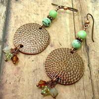 Green Turquoise Hammered Copper Swarovski Crystal BOHO Dangle Earrings