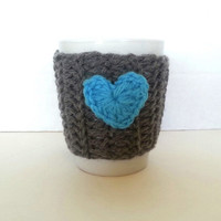 Coffee mug cozy, cup warmer, mug cover, cup cozy, travel mug warmer, blue heart cozy, gifts for him, gifts for her, mug cover