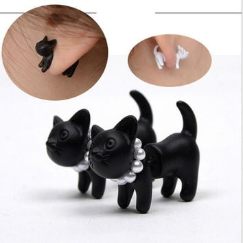 Womens Black Punk Cool Simple Cute Stereoscopic Cat Kitten Lady Stud Earring 1Pcs = 1929866948