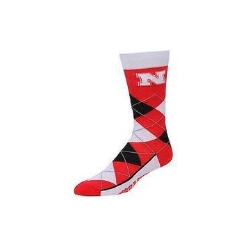 NCAA Nebraska Cornhuskers Argyle Unisex Crew Cut Socks - One Size Fits Most