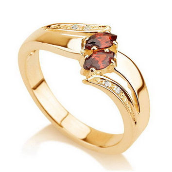Promise Ring, Couples Birthstone Ring 18k Gold, Purity Ring