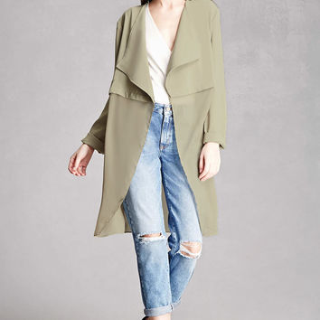 Drape-Front Duster Jacket