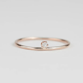 14k rose gold dainty diamond ring, .02ct G SI, delicate diamond ring, solitaire, prong setting 14k yellow gold , white gold, gold options