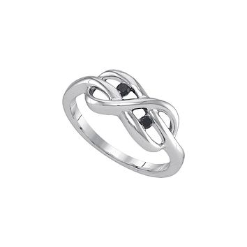 Sterling Silver Womens Black Colored Diamond Infinity Weave Woven Ring 1/20 Cttw