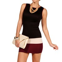 Blk/Burg/Taupe Sleeveless Colorblock Dress