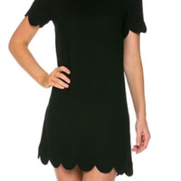 Taylor Scallop Dress - Black