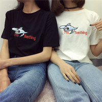 Shark Embroidered Round Neck Casual T-Shirt Top