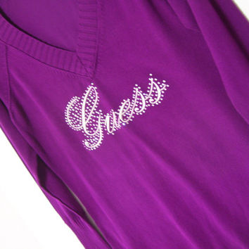 SALE Take Add'l 30% Off Women's Sweater V-Neck Long Sleeve Purple Berry Guess Logo Swarovski Crystals