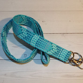 Mermaid Lanyard  ID Badge Holder - Lobster clasp and key ring turquoise aqua - mermaid dots lanyard