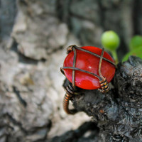 Size 7 Ring Red Coral Wire Wrapped Antique Copper Handmade Jewelry