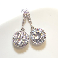 Sparkling Bridal Earrings, Bridesmaids, Clear White Large Cubic Zirconia Crystal, Big Diamond Earrings