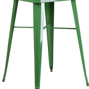 Square Green Metal Indoor-Outdoor Bar Height Table