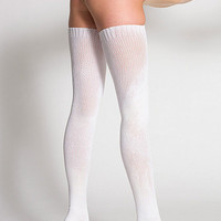 Polyester SolidThigh-High Socks