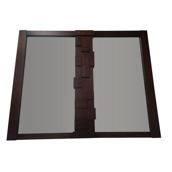 Pre-owned Brutalist Mosaic Two Pane Walnut Mirror by Lane