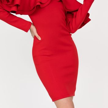 Raina Red Off Shoulder Dress