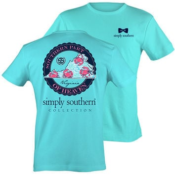 Simply Southern VA Virginia Preppy Scuba State Pattern T-Shirt