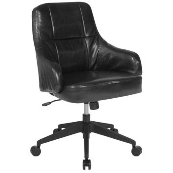 Dinan Home and Office Upholstered Mid-Back Chair in Black Leather [BT-90911H-BLK-GG]