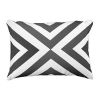 Black and White Modern Geometric Outdoor Pillow