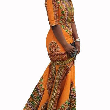 African Dashiki Trumpet Dress (Plus Sizes Available)