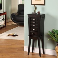 Tower 5-Drawer Jewelry Armoire, Black