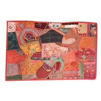 Mogul Decorative Embroidered Reds, Oranges, Sunset Hues, Pinks, Green and Black SAri Wall Decor Patchwork Vintage Tapestry Table Runner - Walmart.com