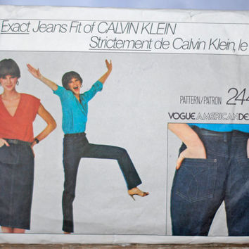 Vintage Vogue Sewing Pattern The EXACT Fit of Calvin Klein Jeans 1985 Size 12 Small-Medium Vogue American Designer 2442 Jeans & Short Skirt